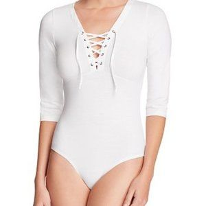 Basik by rd style | White Lace Up Bodysuit